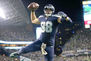 Tight end Jimmy Graham #88 of the Seattle Seahawks spikes the ball after scoring a touchdown against the Buffalo Bills at CenturyLink Field on November 7, 2016 in Seattle, Washington.
