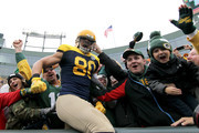 Jimmy Graham #80 of the Green Bay Packers celebrates with fans after scoring a touchdown during the first quarter of a game against the Buffalo Bills at Lambeau Field on September 30, 2018 in Green Bay, Wisconsin.