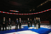 Cammi Granato, Jim Devellano, Dino Ciccarelli, Bob Seaman (Son of honoree Doc Seaman), and Angela James are honored for their induction into the Hockey Hall of Fame prior to the game between the Toronto Maple Leafs and the Buffalo Sabres at the Air Canada Centre on November 6, 2010 in Toronto, Canada.