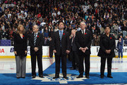 (L-R) Cammi Granato, Jim Devellano, Dino Ciccarelli, Bob Seaman (Son of honoree Doc Seaman), and Angela James are honored for their induction into the Hockey Hall of Fame prior to the game between the Toronto Maple Leafs and the Buffalo Sabres at the Air Canada Centre on November 6, 2010 in Toronto, Canada.
