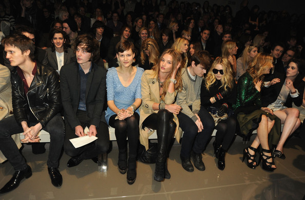 George Craig, Rosie Hunington-Whiteley, Mary-Kate Olsen, Kate Hudson and Kristen Stewart attends the Burberry Prorsum LFW Autumn/Winter 2010 Women?s wear show at the Parade Ground, Chelsea College of Art on February 23, 2010 in London, England.