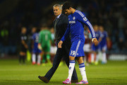 Manager Jose Mourinho of Chelsea speaks to Diego Costa of Chelsea after the Barclays Premier League match between Burnley and Chelsea at Turf Moor on August 18, 2014 in Burnley, England.