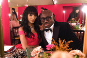 Jourdan Dunn and Edward Enninful attend the gala dinner in his honour, for winning of the Global VOICES Award 2019, during #BoFVOICES on November 22, 2019 in Oxfordshire, England.