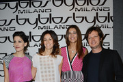 (L-R) Giulia Bevilacqua, Sara Cavazza Facchini, Cristina Chiabotto and Mathias Facchini attend the Byblos fashion show as part of Milan Fashion Week Womenswear Fall/Winter 2013/14 on February 23, 2013 in Milan, Italy.
