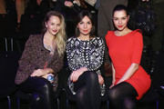 (L-R) Esther Seibt, Nadine Warmuth and Henriette Richter-Roehl attend C'est Tout Autumn/Winter 2013/14 fashion show during Mercedes-Benz Fashion Week Berlin at Brandenburg Gate on January 16, 2013 in Berlin, Germany.