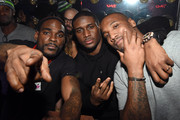 """(L-R) DJ Stevie J, running back Reggie Bush of the Detroit Lions and linebacker Shaun Phillips of the Indianapolis Colts attend """"LIV on Sundays"""" presented by TAO Takeover Party at CAKE Nightclub on February 1, 2015 in Scottsdale, Arizona."""