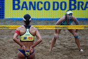 Agatha (R) and Juliana (L) in action during theCBBVP Open Beach Volleyball - Finalat Enseada Beach on November 17, 2013 in Guaruja, Brazil.