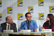 """(L-R) Science advisor David Saltzberg, writers Jeremy Howe and Tara Hernandez attend the CBS """"The Big Bang Theory"""" panel at San Diego Convention Center on July 25, 2014 in San Diego, California."""