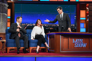 The Late Show with Stephen Colbert and guests Nick Offerman & Megan Mullally during Wednesday's May 10, 2017 show.