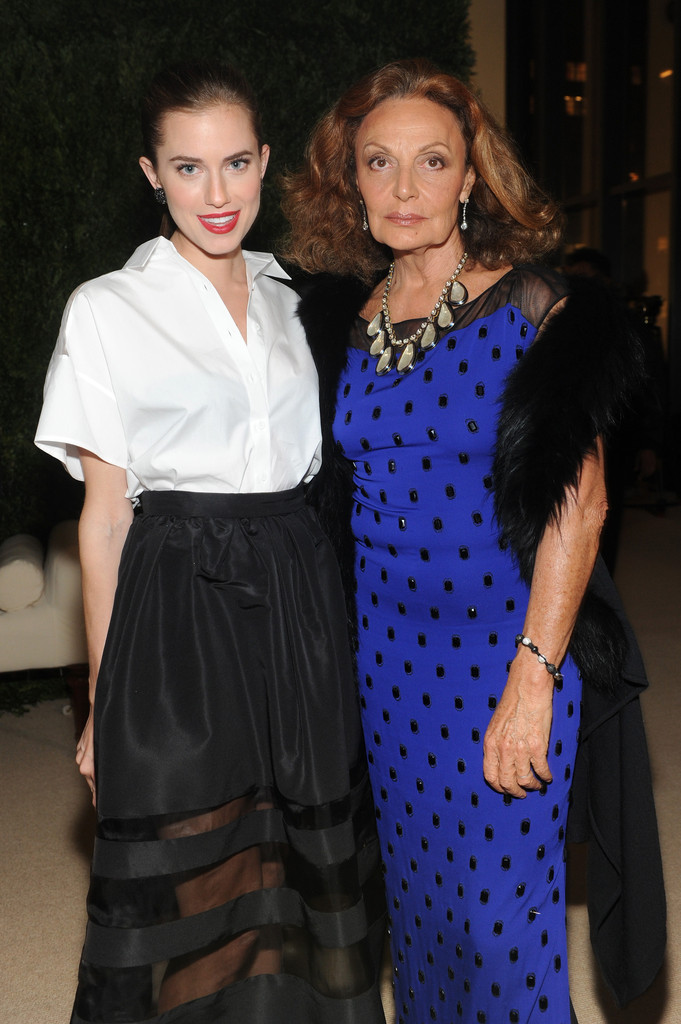 Actress Allison Williams and designer Diane von Furstenberg attend CFDA and Vogue 2013 Fashion Fund Finalists Celebration at Spring Studios on November 11, 2013 in New York City.