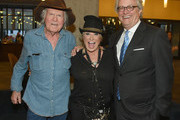 (L-R) Singer-songwriter Billy Joe Shaver, artist Tanya Tucker and Director and CEO of the Country Music Hall of Fame and Museum Kyle Young attend the CMHOF Outlaws and Armadillos VIP Opening Reception on May 24, 2018 in Nashville, Tennessee.