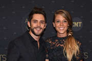 Honoree Thomas Rhett (L) and Lauren Gregory (R) arrive on the red carpet at CMT Artists of the Year 2016 on October 19, 2016 in Nashville, Tennessee.