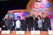 "(L-R) Producer Darla K. Anderson, Co-Director/screenwriter Adrian Molina, actors Anthony Gonzalez, Gael Garcia Bernal, Benjamin Bratt, Edward James Olmos, Alanna Ubach and Director Lee Unkrich at the Global Press Conference for Disney-Pixar's ""Coco"" at The Beverly Hilton Hotel on November 9, 2017 in Beverly Hills, California."