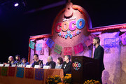 "(L-R) Producer Darla K. Anderson, Co-Director/screenwriter Adrian Molina, actors Anthony Gonzalez, Benjamin Bratt, Edward James Olmos, Alanna Ubach, Director Lee Unkrich and moderator Francisco Caceres at the Global Press Conference for Disney-Pixar's ""Coco"" at The Beverly Hilton Hotel on November 9, 2017 in Beverly Hills, California."