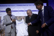 IAAF President Sebastian Coe, CONSULDATE President Robert Gesta De Melo and  Jefferson Perez of Peru during the CONSULDATE Centenary Dinner and Show on July 27, 2018 in Buenos Aires, Argentina.