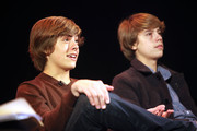 (l-r) Actors Dylan Sprouse and Cole Sprouse during their Master Workshop on acting, hosted by Celebrity Talent Academy and Starlight Childrens Foundation at the Cochrane Theatre on  January 29, 2011 in London, England.