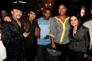 "(L-R) Singers/mentors John Rich, Joe Jonas, Nelly, Queen Latifa and Gloria Estefan  pose at the after party to celebrate The CW's ""The Next"" and mentor Joe Jonas' birthday at Perch on August 15, 2012 in Los Angeles, California."