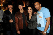 "(L-R) Singers/mentors John Rich, Joe Jonas, Gloria Estefan and Nelly pose at the after party to celebrate The CW's ""The Next"" and mentor Joe Jonas' birthday at Perch on August 15, 2012 in Los Angeles, California."
