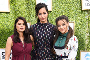 Melonie Diaz; Madeline Mantock and Sarah Jeffery attend The CW Network's Fall Launch Event - Arrivals at Warner Bros. Studios on October 14, 2018 in Burbank, California.