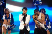 Joe Jonas (L) and Nelly perform during a live taping of CW's 'The Next' on August 7, 2012 in Dallas, Texas.
