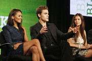 """(L-R) Actors Katerina Graham, Paul Wesley and Nina Dobrev of """"The Vampire Diaries"""" appear during the CW Network portion of the 2009 Summer Television Critics Association Press Tour at The Langham Huntington Hotel & Spa on August 4, 2009 in Pasadena, California."""