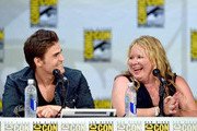 """Actor Paul Wesley and writer/producer Julie Plec attend CW's """"The Vampire Diaries"""" panel during Comic-Con International 2014 at San Diego Convention Center on July 26, 2014 in San Diego, California."""