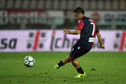 Andrea Cossu of Cagliari Calcio scored the penalty of the victory during the TIM Cup match between Cagliari Calcio and US Citta di Palermo at Stadio Olimpico on August 12, 2017 in Turin, Italy.