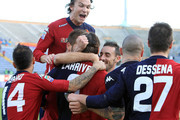 Joaquin Larrivey of Cagliari celebrates after scoring a goal during the Serie A match between Cagliari Calcio and Genoa CFC at Stadio Sant'Elia on January 8, 2012 in Cagliari, Italy.