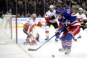 Mike Smith #41 of the Calgary Flames looks to defend the goal against Jesper Fast #17 of the New York Rangers in the second period during their game at Madison Square Garden on February 9, 2018 in New York City.
