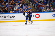 Brayden Schenn #10 of the St. Louis Blues controls the puck against the Calgary Flames at the Enterprise Center on October 11, 2018 in St. Louis, Missouri.