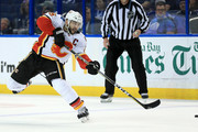 Mark Giordano #5 of the Calgary Flames shoots the puck during a game against the Tampa Bay Lightning at Amalie Arena on January 11, 2018 in Tampa, Florida.