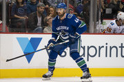 Erik Gudbranson #44 of the Vancouver Canucks skates in NHL action against the Calgary Flames on October, 3, 2018 at Rogers Arena in Vancouver, British Columbia, Canada.