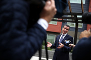 California Lt. Gov. and California gubernatorial candidate Gavin Newsom talks with members of the media as he visits the Alice Griffith Apartments on August 22, 2018 in San Francisco, California. Lt. Gov. Gavin Newsom and San Francisco mayor London Breed toured a low-income housing complex. Newsom leads Republican gubernatorial candidate John Cox by an average of 23 percentage points in recent polls.