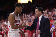 Head coach Sean Miller of the Arizona Wildcats greets Allonzo Trier #35 after Trier checked out of the second half of the college basketball game against the California Golden Bears at McKale Center on March 3, 2018 in Tucson, Arizona. The Wildcats defeated the Golden Bears 66-54 to win the PAC-12 Championship.