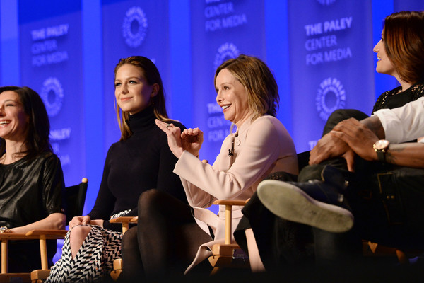 The Paley Center For Media's 33rd Annual PaleyFest Los Angeles - 'Supergirl' - Inside [supergirl,event,performance,conversation,convention,television program,news conference,media,talent show,spokesperson,ali adler,actors,melissa benoist,calista flockhart,chyler leigh,l-r,los angeles,paley center for media,paleyfest]