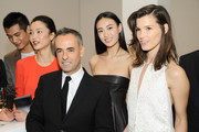 (L-R) Model Hao Yun Xiang, model Du Juan, Women's Creative Director of Calvin Klein Francisco Costa, Supermodel Qin Shu Pei and Fashion Blogger Hanneli Mustaparta pose for pictures during the Calvin Klein special dinner at the Long March Space in 798 Art District on November 12, 2012 in Beijing, China.
