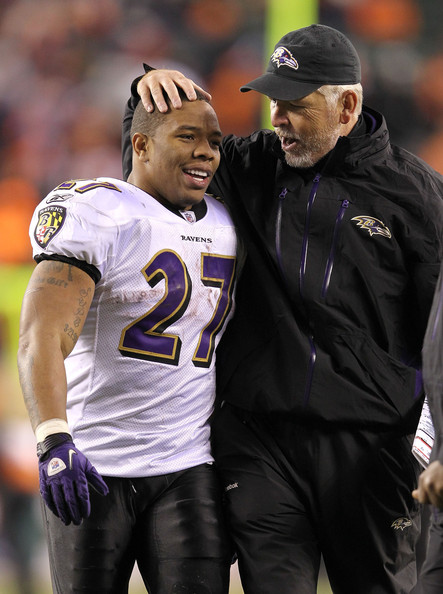 Ravens running back Ray Rice with offensive coordinator Cam Cameron
