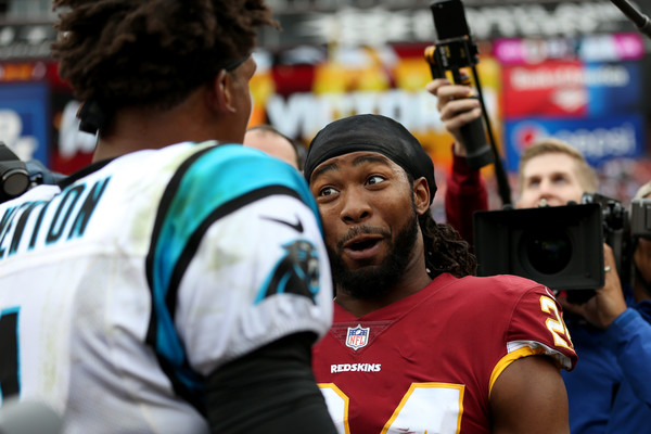 Carolina Panthers vs. Washington Redskins [product,player,championship,team sport,team,competition event,fan,jersey,sports,games,josh norman,cam newton 1,maryland,landover,fedexfield,washington redskins,carolina panthers,victory]