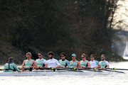 The Cambridge team of Ed Bosson (Cox), Niles Garratt (Stroke), Alex Ross, Steve Dudek, Alexander Scharp, Jack Lindeman, Mike Thorp, David Nelson and Moritz Schramm (Bow) in action during their training race against Leander on the River Thames on March 10, 2012 in London, England.