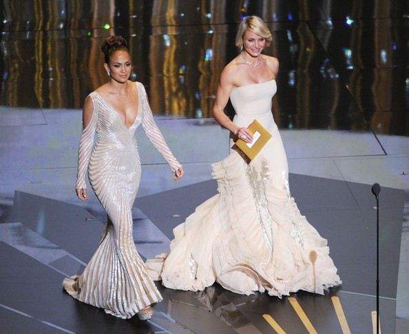 Cameron Diaz Presenters Jennifer Lopez (L) and Cameron Diaz speak onstage during the 84th Annual Academy Awards held at the Hollywood & Highland Center on February 26, 2012 in Hollywood, California.