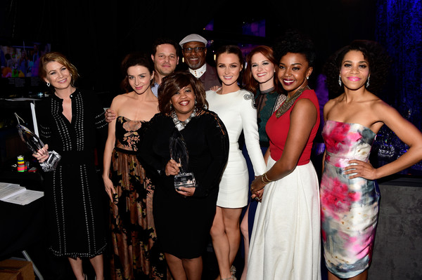 People's Choice Awards 2016 - Backstage and Audience [event,fashion,lady,dress,fun,party,formal wear,fashion design,performance,fashion accessory,peoples choice awards,l-r,audience,actors,winners,caterina scorsone,ellen pompeo,sarah drew,jerrika hinton,camilla luddington]