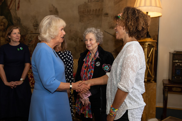 The Duchess Of Cornwall Undertakes Literacy Engagements In London [event,community,adaptation,ceremony,tourist attraction,party,family,house,conversation,prize winners,camilla duchess of cornwall,booker,margaret atwood,bernardine evaristo,r,c,tea,london,duchess of cornwall undertakes literacy engagements]