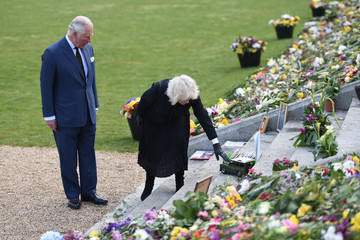 Camilla Parker Bowles The Prince Of Wales And The Duchess Of Cornwall View Tributes Left By Members Of The Public Following The Death Of The Duke Of Edinburgh