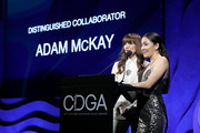 (L-R) Lorene Scafaria and Constance Wu speak onstage during Jennifer Beals at 22nd Costume Designers Guild Awards (CDGA), hosted by Campari, at The Beverly Hilton Hotel on January 28, 2020 in Beverly Hills, California.