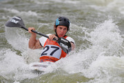 Michael Dawson of New Zealand competes in the Men's K1 event during the ICF Canoe Slalom World Cup at Cardiff International White Water on June 9, 2012 in Cardiff, Wales.