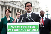 "U.S. House Majority Leader Rep. Eric Cantor (R-VA) (3rd L) speaks as (L-R) Rep. Cathy McMorris Rodgers (R-WA), Rep. Peter Roskam (R-IL), and Rep. Tim Scott (R-SC) listen during a news conference March 21, 2012 on Capitol Hill in Washington, DC. Rep. Cantor and other House Republicans held a news conference to unveil the ""Small Business Tax Cut Act of 2012."""