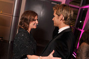 """Caroline Manzo from the """"Real Housewives of New Jersey"""" greets actor Ryan Kwanten as they attend the Capitol File's 7th Annual White House Correspondents' Association Dinner after party at The Newseum on April 28, 2012 in Washington, DC."""