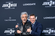 """Joe Mantegna (L) and CEO of Carl F. Bucherer Sascha Moeri celebrate the premiere of """"John Wick: Chapter 3 - Parabellum"""" on May 15, 2019 in Los Angeles, California."""