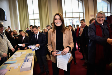Carla Bruni-Sarkozy Right-Wing Les Republicains Party's President and Former French President Nicolas Sarkozy Votes For France Regional Elections
