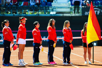 Carla Suarez Navarro Anabel Medina Spain v Italy: Fed Cup World Group Play-off Round - Day One